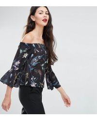 ASOS Black Off Shoulder With Ruffle Sleeve Top In Dark Floral