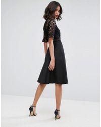 ASOS DESIGN - Black Asos Premium Lace Insert Midi Dress - Lyst