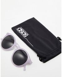 ASOS Purple Round Sunglasses In Crystal Lilac With Smoke Lens for men