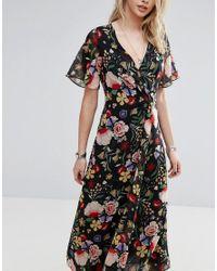 Mango Black Floral Wrap Midi Dress
