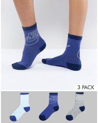 Nike Blue 3 Pack Ankle Socks for men