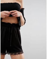 ASOS Black Asos Culotte Shorts With Lace Hem