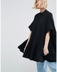 ASOS | Black Oversized Trapeze Top In Waffle Texture | Lyst