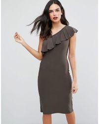 Love - Green One Shoulder Frill Dress - Lyst