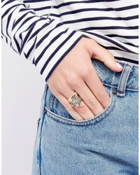 Monki - Metallic Jewel Encrusted Snake Ring - Lyst