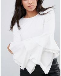 Club L - White Layered Sleeve Detail Scuba Crepe Top - Lyst