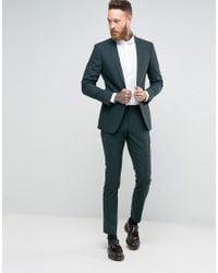 Number Eight Savile Row - Green Skinny Suit Trouser In Micro Herringbone for Men - Lyst