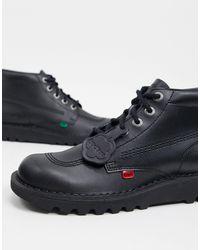 Черные Кожаные Высокие Ботинки -черный Kickers для него, цвет: Black