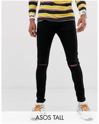 Tall - Jeans effetto spray di ASOS in Black da Uomo