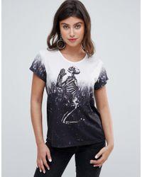 T-shirt oversize dip-dye con scheletro che prega di Religion in Gray