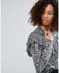 Monki - Gray Ruffle Panel Sweater - Lyst