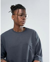 ASOS - Gray Heavyweight Oversized T-shirt With Oversized Pocket for Men - Lyst