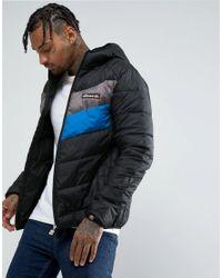 Ellesse Black Puffer Jacket With Chevron Panel for men