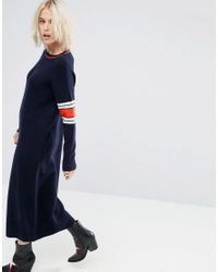 ASOS Blue Asos Midi Dress In Knit With Tipping