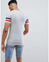 ASOS Gray Tall Muscle Fit T-shirt With Contrast Sleeve Stripe for men