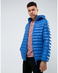 Tokyo Laundry Blue Hooded Padded Jacket In Sheen for men