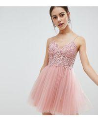 7e467b515b9e ASOS - Pink Asos Design Petite Premium Lace Cami Top Tulle Mini Dress - Lyst
