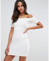 ASOS - White Super Soft Deep Bardot Mini Bodycon Dress - Lyst
