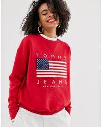 Tommy Hilfiger Red – Sweatshirt mit USA-Flaggenlogo