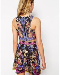 ASOS - Blue Crop Top With Butterfly Mirror Print Co-ord - Lyst