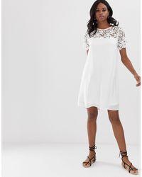 Свободное Платье Мини С Кружевной Кокеткой -белый Vila, цвет: White