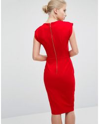 Closet Red Closet V-neck Pencil Dress With Cap Sleeve