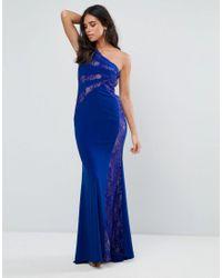 Forever Unique Blue Lace One Shoulder Maxi Dress
