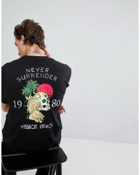 ASOS Black Asos Relaxed T-shirt With Beach Skull Back Print for men