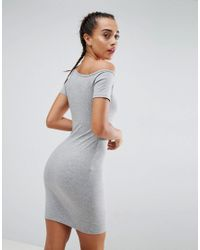 ASOS - Gray Mini Popper Placket One Shoulder Bodycon Dress - Lyst