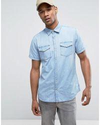 Jack & Jones - Blue Originals Short Sleeve Slim Fit Denim Shirt In Light Wash for Men - Lyst