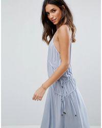 ASOS - Blue Drawstring Maxi Dress - Lyst