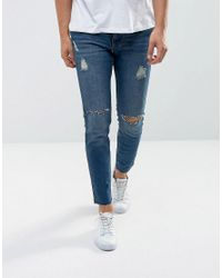 Mango Blue Man Ripped Skinny Jeans With Raw Hem In Mid Wash for men