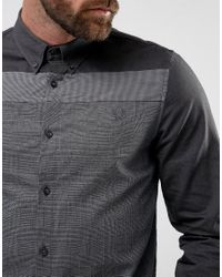 Fred Perry Mix Panel Shirt In Black for men