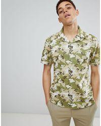 Camicia mimetica con collo a rever di SYSTVM in Green da Uomo