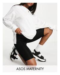 ASOS DESIGN Maternity - Leggings corti basic con fascia per il pancione di ASOS in Black