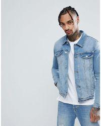 Giacca di jeans skinny lavaggio chiaro di ASOS in Blue da Uomo