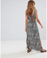 ASOS - Multicolor Bow Back Maxi Dress In Zebra Print - Lyst