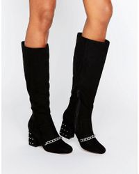 ASOS Black Chiron Loafer Knee High Boots