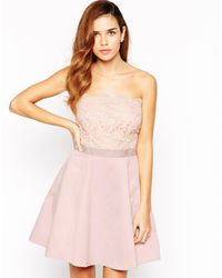 Lipsy Natural Bandeau Prom Dress With Lace Embellished Top