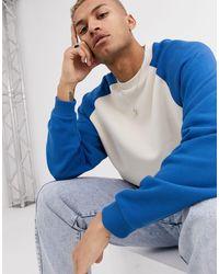 Sudadera extragrande en color hueso con mangas raglán azules ASOS de hombre de color Blue