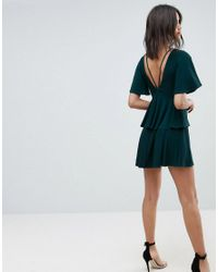 ASOS - Green Asos Cut Out Fluted Sleeve Tiered Skater Mini Dress - Lyst