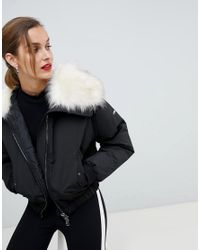 a27376f055c00 Emporio Armani Cropped Padded Jacket With Faux Fur Hood in Black - Lyst