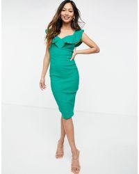 Зеленое Облегающее Платье Миди С Приспущенными Плечами -зеленый Цвет Vesper, цвет: Green