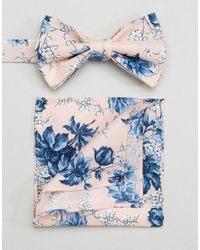 ASOS Wedding Bow Tie & Pocket Square In Pink Floral Print for men