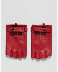 Mitaines en cuir - Rouge ASOS pour homme en coloris Red