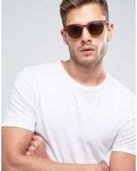 ASOS - Rounded Retro Sunglasses In Matte Brown for Men - Lyst