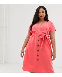 Boohoo Pink Button Through Midi Dress