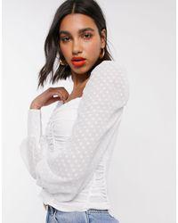 Топ Со Сборками -белый Fashion Union, цвет: White