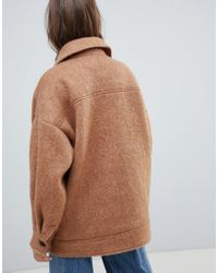 Weekday - Natural Oversized Wool Trucker Jacket - Lyst