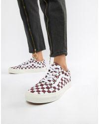 Old Skool - Baskets motif damier - Bordeaux Vans en coloris Rouge ...